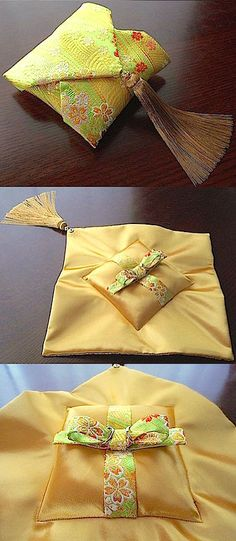 ateliersarah's ring pillow/Japanese-style Wedding Ring Cushion, Cushion Ring, Ring Bearer Pillows, Ring Pillows, Wedding Crafts, Diy Wedding, Wedding Rings, Japanese Wedding, Japanese Style