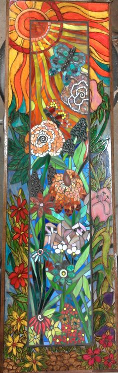 Flower Garden mosaic with a woodburned and painted frame