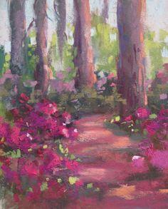 Azalea Path plein air pastel, painting by artist Karen Margulis