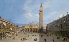 Piazza San Marco with the Basilica.  By Canaletto, 1720
