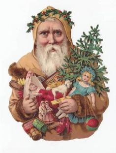Victorian Die Cut Scraps: Large Santa with Tree & Toys Good condition. tall I work full time. Vintage Christmas Images, Christmas Past, Victorian Christmas, Father Christmas, Christmas Items, Christmas Pictures, Xmas, Vintage Santa Claus, Vintage Santas