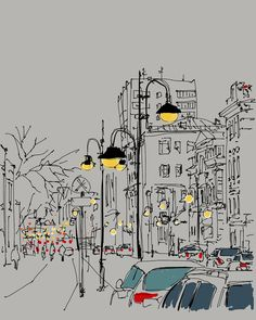 Evening in Moscow/ illustration. Art Sketches, Art Drawings, Notebook Sketches, Cool Car Drawings, Sketch Books, Creative Sketches, Urbane Kunst, Art And Illustration, Illustrations