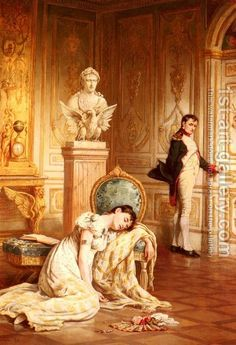 The Divorce of Napoleon & Josephine. Guessing perhaps not contemporary to the event. Josephine was neither young nor beautiful by the time Napoleon left her and it seems unlikely that she fainted. Napoleon Josephine, Empress Josephine, Classic Paintings, Old Paintings, Romantic Paintings, French History, Art History, Chateau De Malmaison, French Empire
