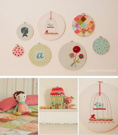 Make own bedding - embroidery hoops with fabric and designs to match / coordinate