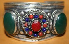 Nepalese jade coral cuff bracelet Nepal bracelet Tibet cuff bracelet Tibet bracelet Nepalese Bracelet bohemian bracelet gypsy hippie B23 by goldenlines on Etsy