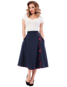 This skirt is so great, we could throw it a parade! The High Waist Parade Skirt features contrast colored piping in a scalloped shape down the front and piping along the bottom of the skirt. There are three matching button details down the scalloped design. Best part, this skirt comes with two deep pockets, perfect for fitting your phone, makeup, keys, and other essentials. These pockets flow with the skirt and don't look bulky when holding items. There is a big button and zipper closure in…