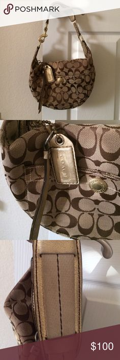 Vintage Coach Small Hobo Bag This is a loved Coach bag, I never use it anymore. It has some darkening on the cloth on the strap  as you can see in the pic. Inside is clean and there are no stains or rips anywhere. This is a super cute bag. Coach Bags Hobos