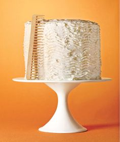 Use a clean comb to decorate a frosted cake.