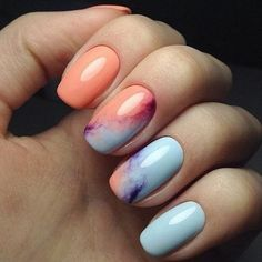 Chevron designs are extremely popular for acrylic nails. You don't have to be an expert nail artist to attain an impressive, contemporary design on your almond nails. Short nails are great once you select the appropriate nail polish. Nail Art Design 2017, Nail Art Designs, Marble Nail Designs, Unique Nail Designs, Nail Designs 2017, Orange Nail Designs, Awesome Designs, Classy Nails, Trendy Nails