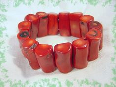 Branch CORAL Wide Stretch Bracelet ~ Bright Red Coral ~ Artisan Treasure - FREE Shipping by FindMeTreasures on Etsy
