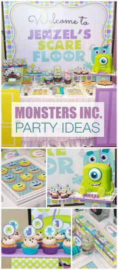 A fun blue and purple Monsters Inc boy birthday party with  an awesome cake, cookies and cupcakes! See more party planning ideas at CatchMyParty.com!