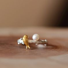 Pearl & Gold Plated Bird Ring Adjustable by fashnin.com