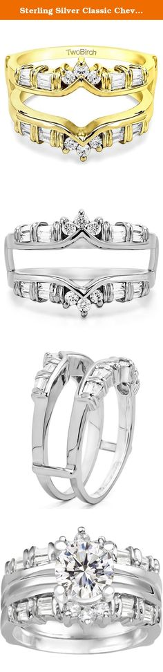 Sterling Silver Classic Chevron Style Ring Guard with Cubic Zirconia (0.7 ct. tw.). Classic Chevron Style Ring Guard. This ring jacket has slight curves which allow it to sit up against almost any style engagement ring. Its gentle lines make it the perfect classic style ring guard. The combination of round and tapered baguette stones make it a more unique version of the traditional style ring guard. We are a made to order type company with over 20 years experience in the jewelry industry....