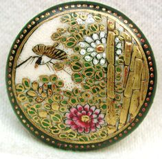 Stunning Large Antique Meiji Satsuma Button by YesterYearsFindings