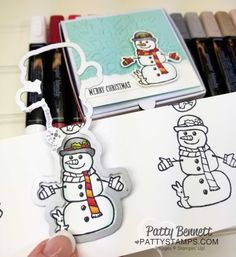 Seasonal Chums snowman colored with Stampin' Up! Stampin' Blends markers on a darling Mini Pizza Box. Christmas gift box idea by Patty Bennett