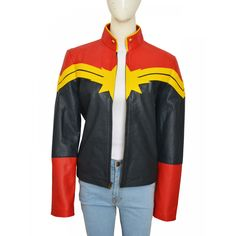Captain Marvel Jacket Features: Material: Real Leather Lining: Viscose Color: Same as Image Collar: Collarless Sleeves: Rib Knit Cuffs Full Sleeves Closure: YKK Zipper Closure Pockets: Two Waist and Two Inner Pockets Leather Jacket For Girls, Best Leather Jackets, Marvel Jacket, Avengers Women, Captain Marvel Carol Danvers, Distressed Leather, Jackets For Women, Bomber Jacket, Outfits