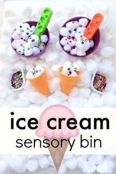 Ice Cream Sensory Bin – Fantastic Fun & Learning Ice Cream Sensory Bin–sensory play fun for toddlers and preschoolers. Use it for a preschool ice cream theme or summer sesnory activity for kids Toddlers And Preschoolers, Sensory Activities Toddlers, Art Therapy Activities, Summer Activities For Kids, Summer Preschool Themes, Letter I Activities, Summer Crafts For Toddlers, Fun For Toddlers, Cotton Ball Activities