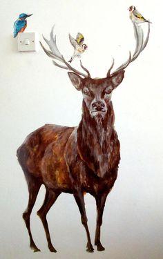 Deer decals wildlife decals woodland wall decals stag wall