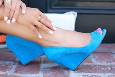 Bright peep toe wedges.