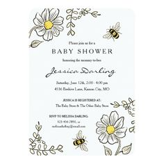 Bee Baby Shower Invitations for Bumble Bee Shower - baby shower ideas party babies newborn gifts Baby Shower Parties, Baby Shower Themes, Baby Shower Gifts, Baby Showers, Shower Ideas, Shower Baby, Girl Shower, Custom Baby Shower Invitations, Bumble Bee Invitations
