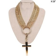 La Coqueta Jewelry Gold Colored Chain With Large cross Hanging From A Hoop - LA COQUETA JEWELRY