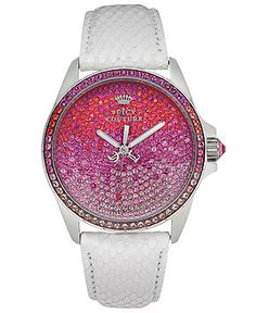 Juicy Couture Watch, Women's Stella White Snake-Embossed Leather Strap www.macys.com