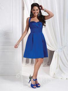 Stylized halter sweetheart neckline, Short A-line dress with stylized pleated bodice, cummerbund style waist and box pleats at skirt. Satin.