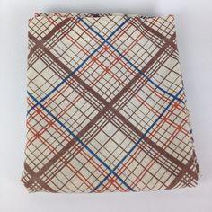 Full Flat VTG 1980 Bed Sheet JP Stevens Blue Brown Plaid Lines Fabric Cutter #JPStevens #1980sVintage