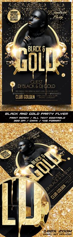 Black and Gold Party Flyer Template PSD #design Download: http://graphicriver.net/item/black-and-gold-party-flyer/13598579?ref=ksioks