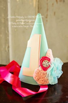 1 aqua pink shabby chic Birthday Girl Hat Party Hat or any age on hat Vintage First Birthday, First Birthday Hats, Vintage Birthday Parties, Shabby Chic Birthday, Baby Girl Birthday, Birthday Diy, First Birthdays, Birthday Ideas, Kids Party Themes