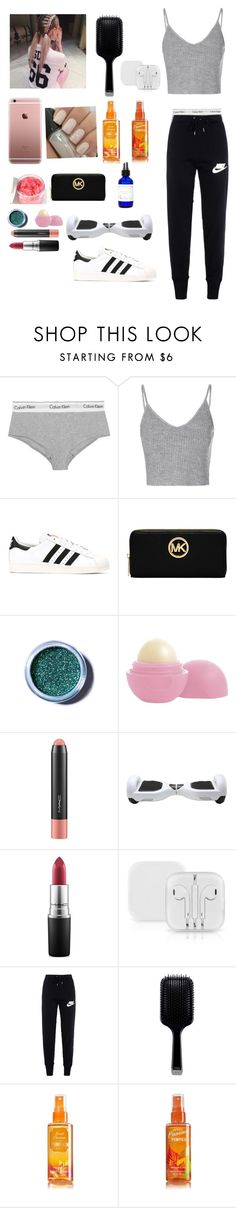 """""""Gym"""" by weronikax ❤ liked on Polyvore featuring Calvin Klein Underwear, Glamorous, adidas, Michael Kors, Lime Crime, Eos, MAC Cosmetics, NIKE, GHD and women's clothing"""