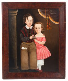 "PORTRAIT OF THE SANDERSON CHILDREN BY WILLIAM MATTHEW PRIOR (MASSACHUSETTS/MAINE, 1806-1873).  Oil on canvas, unsigned. Full- length portrait of the brother and sister holding a bouquet of flowers and standing near a column and drapery. He wears brass buttoned pants and shirt while she wears a bright pink dress. Restoration. 36""h. 26.5""w., later frame, 42.5""h. 35""w. Ex C.L. Prickett Antiques (Pennsylvania)"