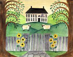 Folk Art Painting Ideas   FOLK ART SHEEP AND SUNFLOWERS WATERCOLOR PAINTING