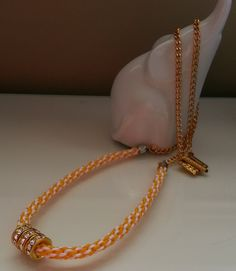Kumihimo Braided Necklace in Yellow and White with 3 large Gold Rondelles by SparklingYouDesigns on Etsy