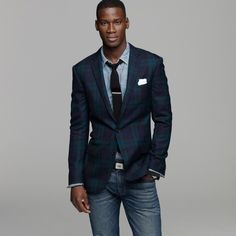Crew for the Black Watch sportcoat in Ludlow fit for Men. Find the best selection of Men Clothing available in-stores and online. Homecoming Outfits For Guys, Homecoming Dresses, Black Jeans Men, African American Men, My Guy, Jeans Style, Boy Outfits, Casual Shirts, J Crew