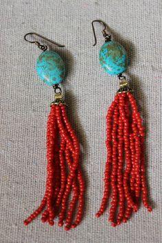 Tassel bead earrings turquoise bead red seed bead tassels bronze finishings