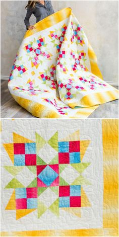 Delightful Dahlias Quilt Kit | Craftsy.com. Capture your own rainbow in this fun, one-block design. The quick transition of color within the Boundless Blenders Ombre collection adds a luminous effect to your finished quilt. Use the included templates, or use your TriRecs Tools for quick and easy cutting. affiliate link.