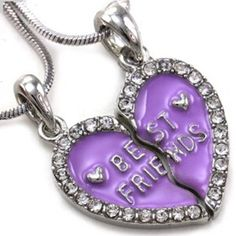 Best Friends Enamel Finish Clear Rhinestone Heart Split Friends Forever Necklace, heart bff necklaces set ,best friends heart jewelry set