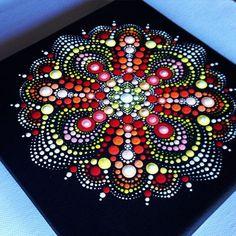 Original Dotart Red Mandala Painting on Black Canvas, Painting, Office and home ornament decoration Gift Dotilism Dotart Henna Art