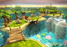 AMAZING tropical game environment from Skylanders. This is how Mario Galaxy games SHOULD look.