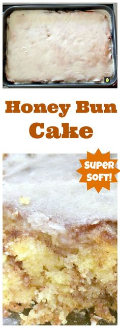 This Honey Bun Cake! This is a delicious. This Honey Bun Cake! This is a delicious moist Honey Bun Cake! This Honey Bun Cake! This is a delicious moist cinnamon and brown sugar cake and always popular with the family! Honey Bun Cake, Honey Buns, Iced Honey Bun, Cake Mix Recipes, Baking Recipes, Dessert Recipes, Frosting Recipes, Yellow Cake Recipes, Yellow Cakes