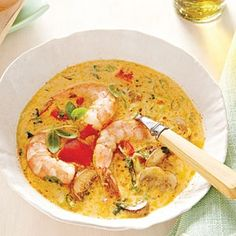Spicy coconut shrimp soup from April 2012 Southern Living magazine.  Yummy, spicy Thai flavor. lizaobush