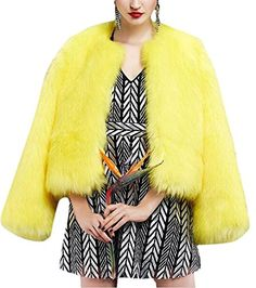 Womens Yellow Winter Thick Outerwear Warm Short Faux Fox Fur Jacket Coat S * Check out this great product. (This is an affiliate link)
