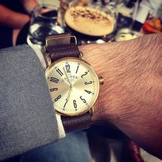 dd68a266109d4 No.88 gold watch with brown leather nato strap. British watch design. Nato