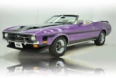 Purple convertible Mustang