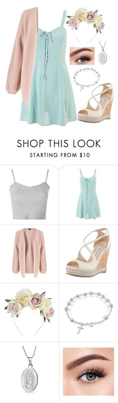 """Happy Easter!"" by wonderstruck221b ❤ liked on Polyvore featuring Topshop, Miss Selfridge, Jimmy Choo, Lulu in the Sky, Bling Jewelry, Morphe, Easter and spring2018"