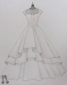 Custom wedding dress sketch wedding dress hand drawing say yes to the dress bride shoes wedding date paper gift one year anniversary - Dress Design Drawing, Dress Design Sketches, Fashion Design Drawings, Fashion Sketches, Drawing Sketches, Drawing Ideas, Shoe Drawing, Drawing Tips, Fashion Drawing Dresses