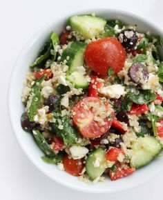 If you're always left wanting something else after chowing down on a standard Greek salad, this Mediterranean quinoa salad is the answer to your olive- and feta-filled prayers. The addition of this complex carb fills you up with even more fiber!