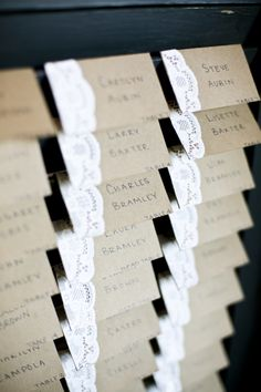 craft paper and doily escort cards, perfect for a rustic wedding