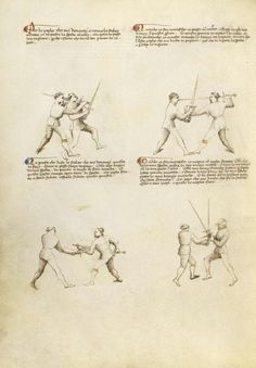 Combat with Sword Artist/Maker(s): Fiore Furlan dei Liberi da Premariacco, author [Italian, about 1340/1350 - before 1450] Date: about 1410 Medium: Tempera colors, gold leaf, silver leaf, and ink on parchment Dimensions: Leaf: 27.9 x 20.6 cm (11 x 8 1/8 in.) Object Number: 83.MR.183.28v Department: Manuscripts